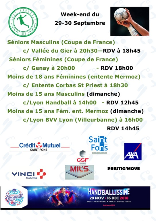 Rencontres du WE 29/30 Septembre
