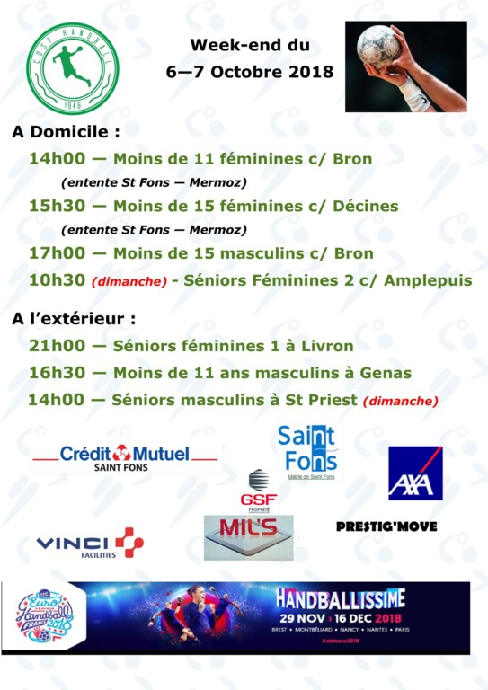 Week end du 6-7 Octobre 2018