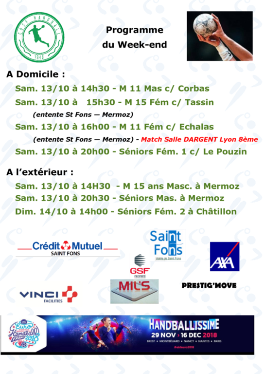 Week-end 13/14 Octobre 2018
