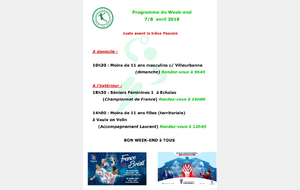 Programme du week-end du 7 / 8 avril 2018