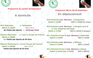 Programme du Week-end du 28/29 Septembre