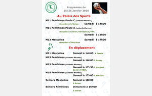 Programme du week-end du 25/26 janvier 2020